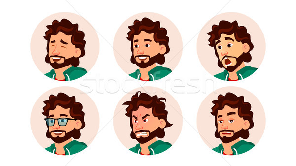 Avatar Man Vector. Round Portrait. Circle Pictogram. Expressive Picture. Flat Cartoon Character Illu Stock photo © pikepicture