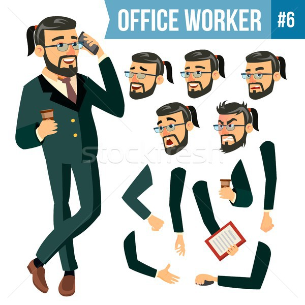 Office Worker Vector. Face Emotions, Various Gestures. Animation Creation Set. Businessman Worker. H Stock photo © pikepicture