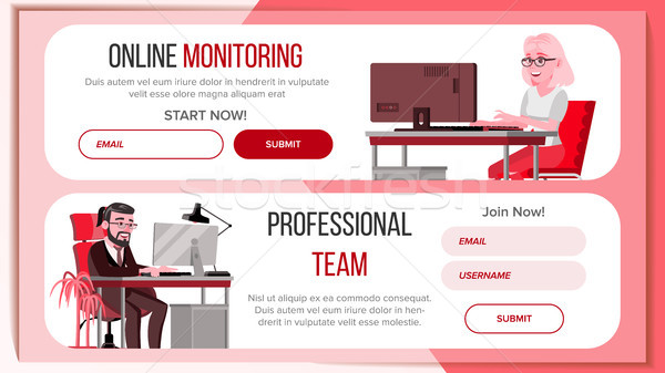 Horizontal Banners Website Design Vector. Business Landing. Responsive Banner Interface. Onboarding  Stock photo © pikepicture