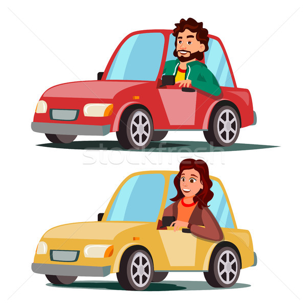 Driver People Vector. Man, Woman Sitting In Modern Automobile. Buy A New Car. Driving School Concept Stock photo © pikepicture