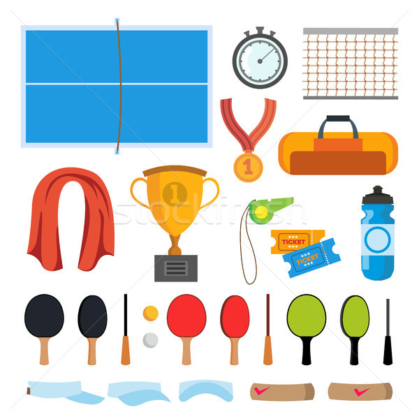 Table Tennis Icons Set Vector. Table Tennis Accessories. Racket, Net, Ball, Table. Isolated Flat Car Stock photo © pikepicture