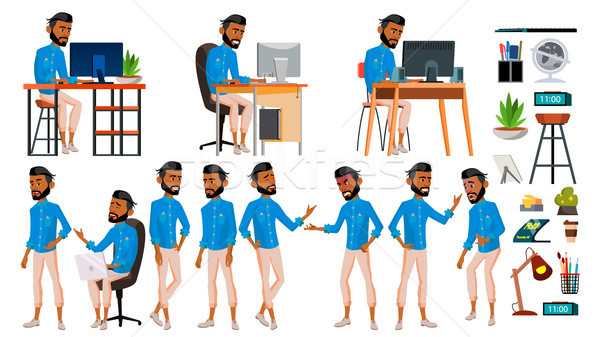 Arab Man Set Office Worker Vector. Emirates, Qatar, Uae. Muslim. Islamic. Emotions, Gestures. Set. L Stock photo © pikepicture