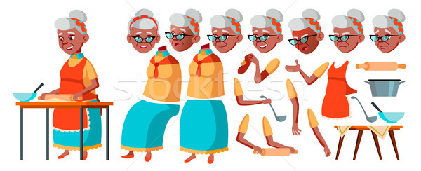Old Woman Vector. Senior Person Portrait. Elderly People. Aged. Black. Afro American. Animation Crea Stock photo © pikepicture
