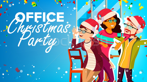 Christmas Party In Office Vector. New Year s Hats. Having Fun. Happy Business People. Cartoon Illust Stock photo © pikepicture