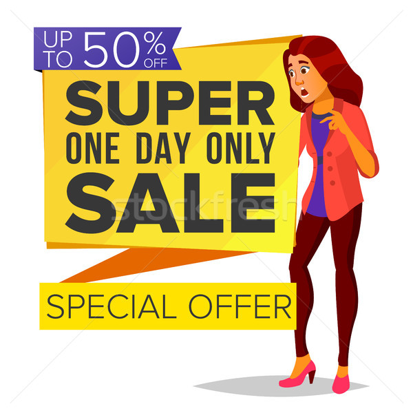 Shopping Woman Vector. Big Discount. Super Sale. Special Offer. Pleasure Of Purchase. Store. Surpris Stock photo © pikepicture
