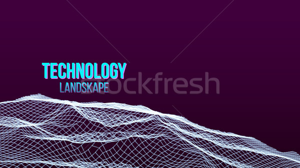 Abstract Digital Landscape Background Vector. Flowing Particles. Sci-Fi Futuristic. Technology Illus Stock photo © pikepicture