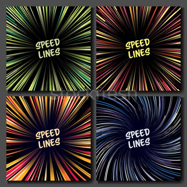 Манга скорости линия вектора набор макет Сток-фото © pikepicture