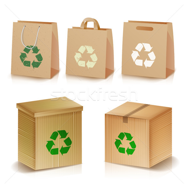 Recycling Paper Bags And Boxes. Realistic Blank Ecologic Craft Package. Illustration Of Recycled Bro Stock photo © pikepicture