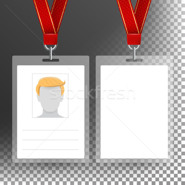Blank Badge With Ribbon, Lanyard Vector. Identification Card Template. Transparent Stock photo © pikepicture
