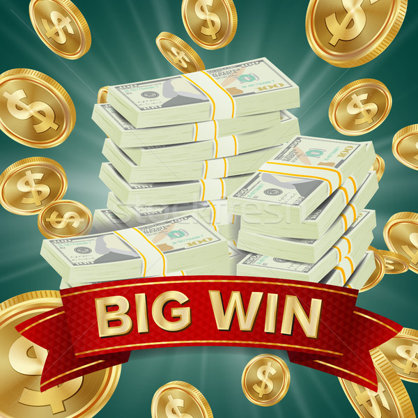 Big Winner Poster Vector. You Win. Falling Explosion Golden Coins. Dollars Money Banknotes Stacks Stock photo © pikepicture