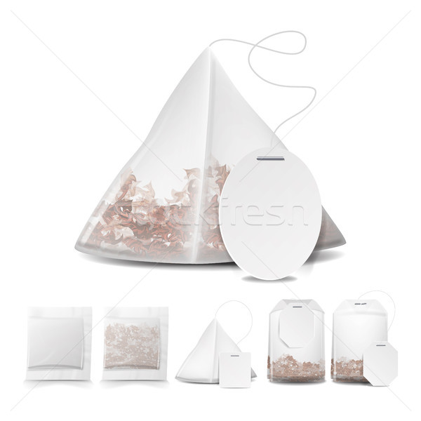 Tea Bags Illustration With Labels. Square, Rectangle, Pyramid Shapes. Vector Mock Up Illustration Fo Stock photo © pikepicture