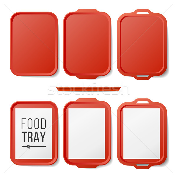 Empty Plastic Tray Salver Set Vector. Rectangular Red Plastic Tray Salver With Handles. Top View. Tr Stock photo © pikepicture