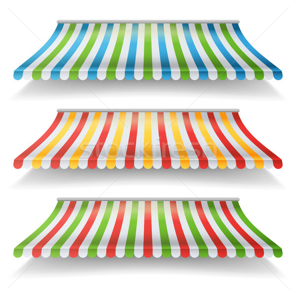 Awnings Vector Set. Different Forms. For Market Store. Isolated On White Illustration Stock photo © pikepicture