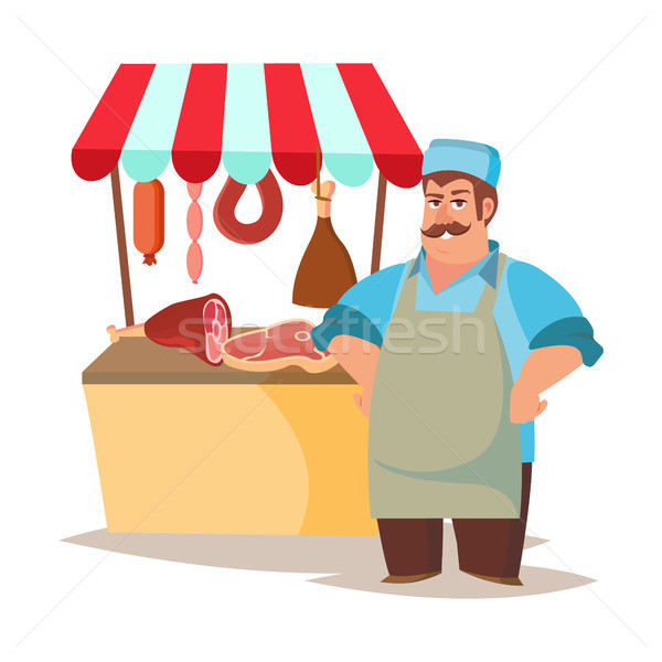 Stock photo: Classic Butcher Vector. Professional Butcher Man With Meat Cleaver. For Meat Market Advertising Conc