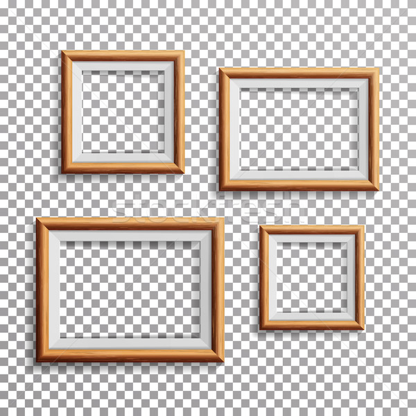 Realistic Photo Frame Vector. Set Square, A3, A4 Sizes Light Wood Blank Picture Frame, Hanging On Tr Stock photo © pikepicture