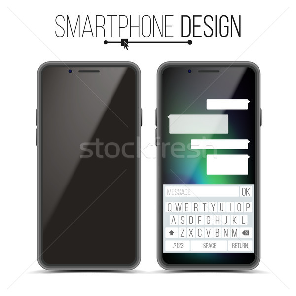 Smartphone Mockup Design Vector. Black Modern Trendy Mobile Phone Front View. Isolated On White Back Stock photo © pikepicture