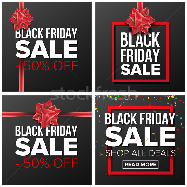 Black friday verkoop banner ingesteld vector cartoon Stockfoto © pikepicture