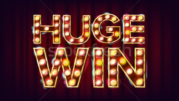 Huge Win Banner Vector. Casino Shining Lamp Background. For Fortune Advertising Design. Gambling Ill Stock photo © pikepicture
