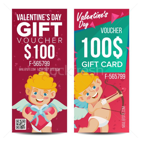 Valentine s Day Voucher Template Vector. Vertical Free Card. February 14. Valentine Cupid And Gifts. Stock photo © pikepicture