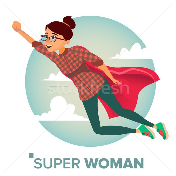 Super Business Woman Character Vector. Red Cape. Leadership Concept. Creative Modern Business Super  Stock photo © pikepicture