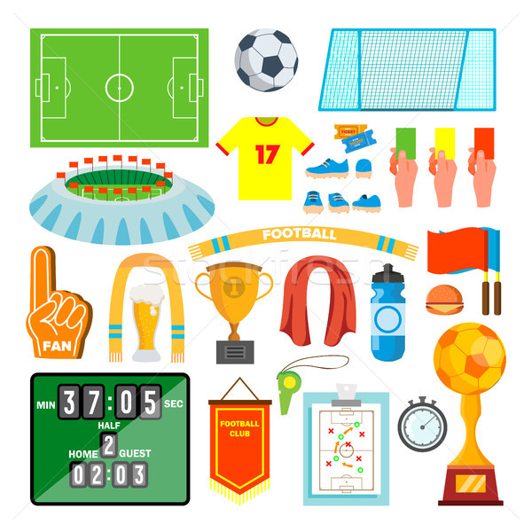 Soccer Icons Set Vector. Soccer Accessories. Ball, Uniform, Cup, Boots, Scoreboard, Field. Isolated  Stock photo © pikepicture