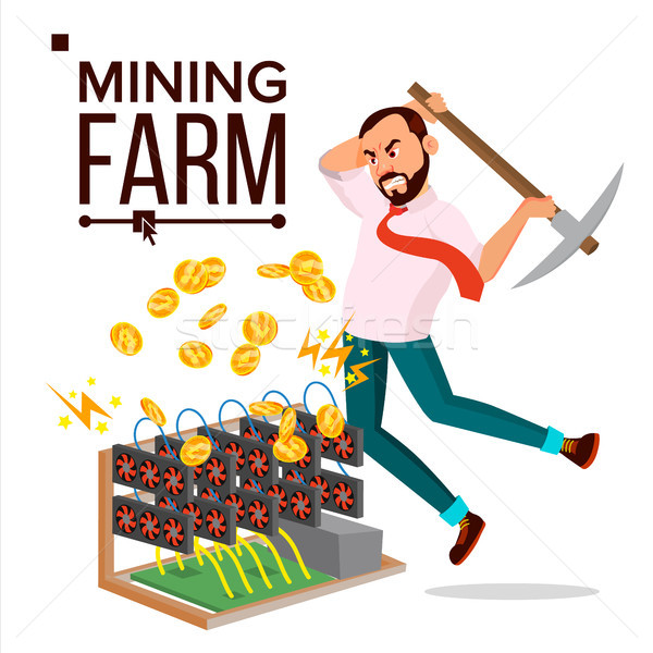 Mining Farm Vector. Businessman Miner. Server Room. Farming Coins. Technology Online. Isolated Flat  Stock photo © pikepicture