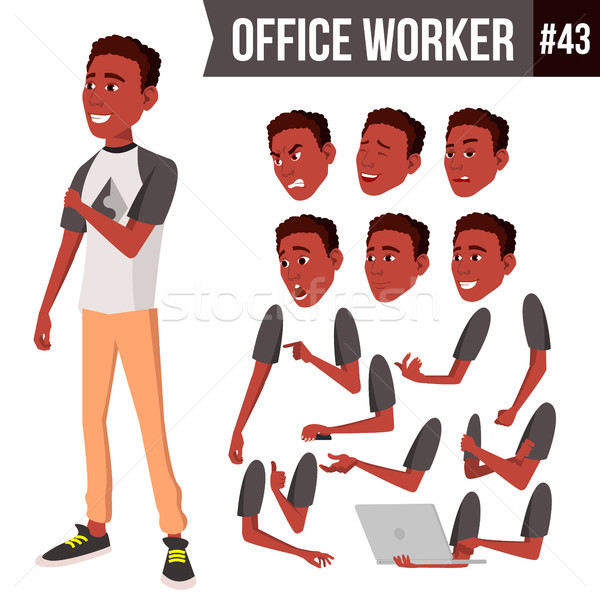 Office Worker Vector. Face Emotions, African, Black. Various Gestures. Animation Creation Set. Busin Stock photo © pikepicture