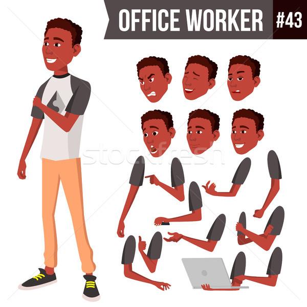 Lucrator de birou vector faţă african negru Imagine de stoc © pikepicture