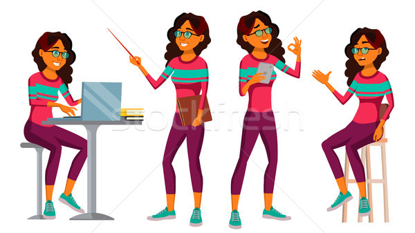 Office Worker Vector. Arab Woman. Professional Officer, Clerk. Saudi. Adult Business Female. Lady Fa Stock photo © pikepicture