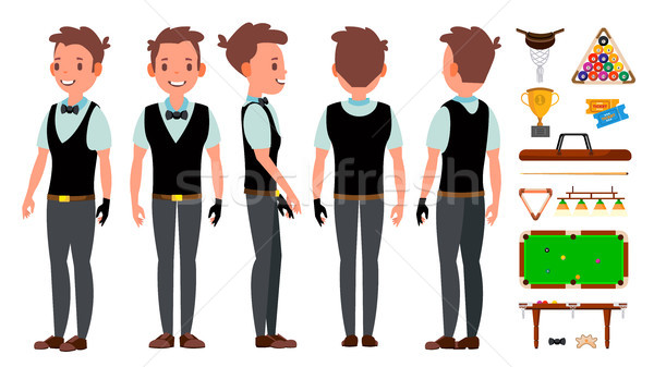 Snooker Player Male Vector. Billiard. Sport Theme. Gambling Table. Isolated Flat Cartoon Character I Stock photo © pikepicture
