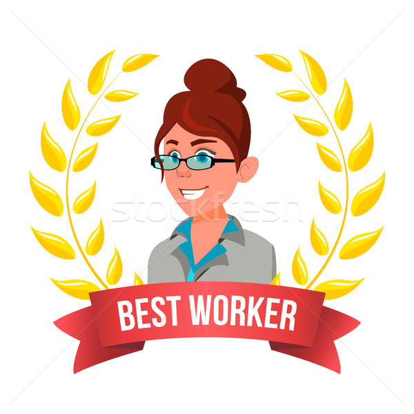 Best Worker Employee Vector. European Woman. Award Of The Year. Gold Wreath. Leader Business Cartoon Stock photo © pikepicture