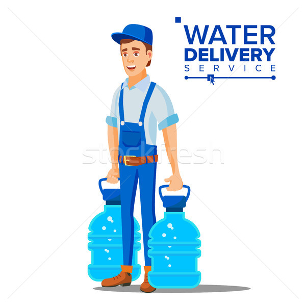 Water Delivery Service Man Vector. Worker In Blue Uniform. Purification. Isolated Flat Cartoon Illus Stock photo © pikepicture