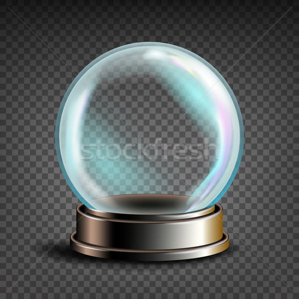 Christmas Snowglobe Vector. Glass Sphere On A Stand. Transparency Souvenir. Realistic Illustration Stock photo © pikepicture