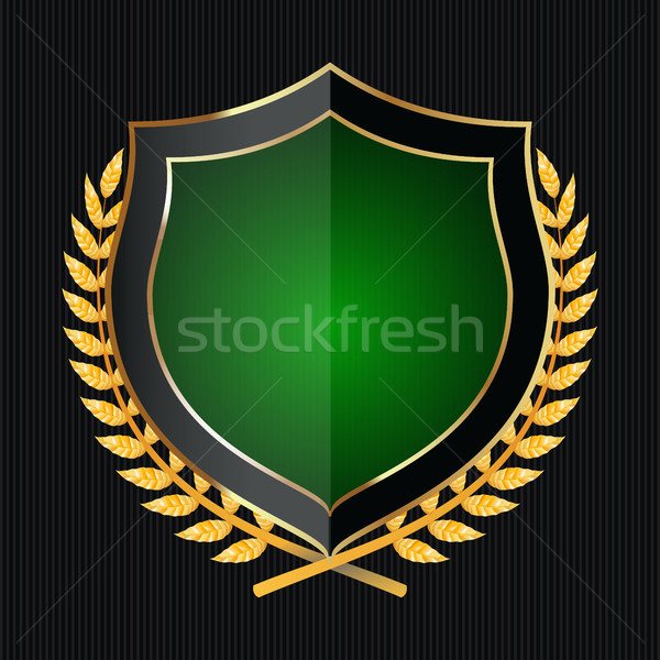 Golden Shield With Laurel Wreath. Vector Illustration Stock photo © pikepicture