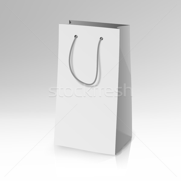 Blank Paper Bag Template Vector. Realistic Shopping Pocket Bag Illustration Stock photo © pikepicture