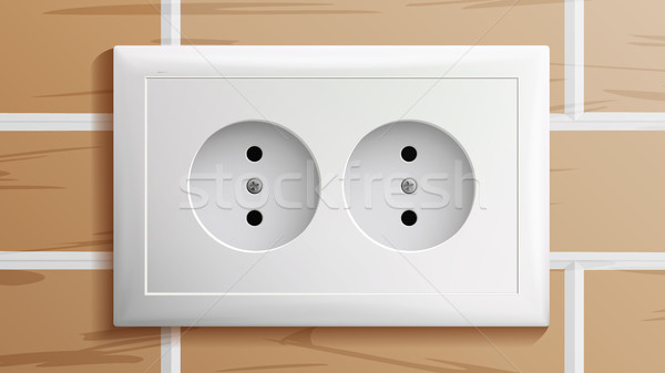 Socket Vector. Double Grounded Power Switch. Plastic Standard Panel. Brick Wall. Realistic Illustrat Stock photo © pikepicture