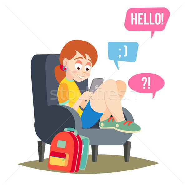 Teen Girl Vector. Teen Girl Texting With Cell Phone. Smart Phone Chatting Addiction. Cartoon Charact Stock photo © pikepicture