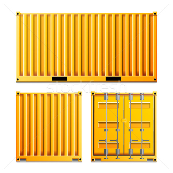 Yellow Cargo Container Vector. Realistic Metal Classic Cargo Container. Freight Shipping Concept. Lo Stock photo © pikepicture