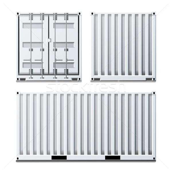 White Cargo Container Vector. Classic Cargo Container. Freight Shipping Concept. Logistics. Isolated Stock photo © pikepicture