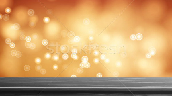 Wood Table Top Vector. Abstract Morning Sunlight. Abstract Warm Blur And Bokeh Background. Decoratio Stock photo © pikepicture