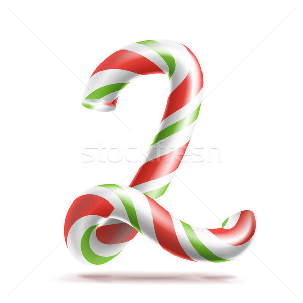 2, Number Two Vector. 3D Number Sign. Figure 2 In Christmas Colours. Red, White, Green Striped. Clas Stock photo © pikepicture