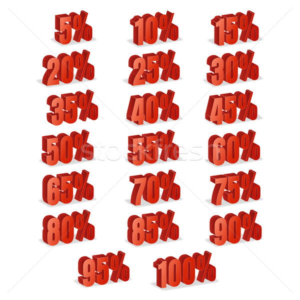 Discount Numbers 3d Vector. Red Sale Percentage Icon Set In 3D Style Isolated On White Background. 1 Stock photo © pikepicture
