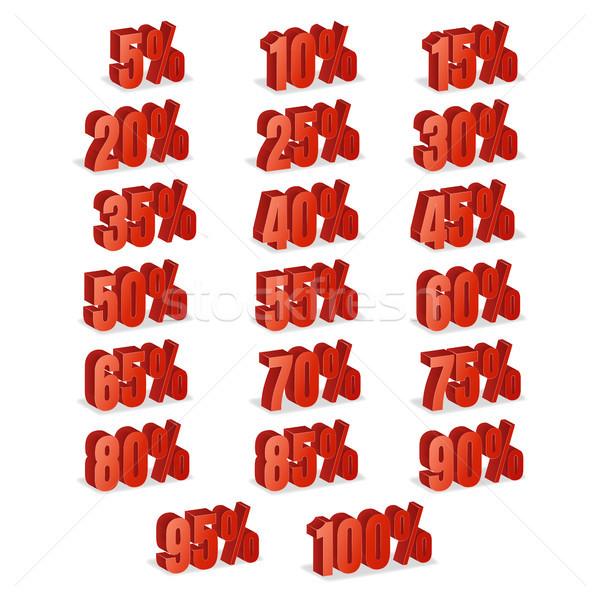 Korting nummers 3D vector Rood verkoop Stockfoto © pikepicture