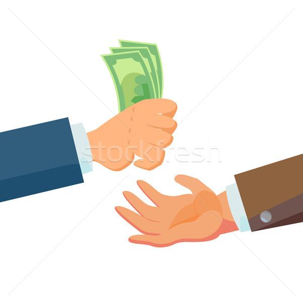 Empresario manos dinero vector vendedor agente Foto stock © pikepicture