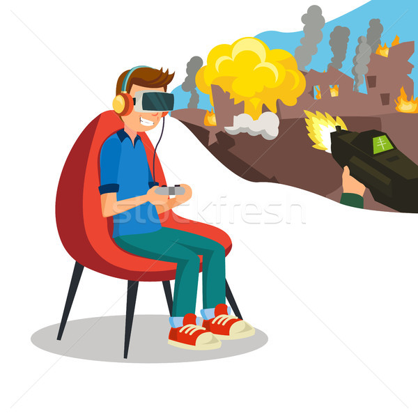 Augmented Reality Game Vector. Young Boy With Headset Playing Virtual Reality Simulation Game. Isola Stock photo © pikepicture