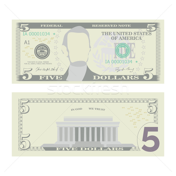 5 Dollars Banknote Vector. Cartoon Stock photo © pikepicture