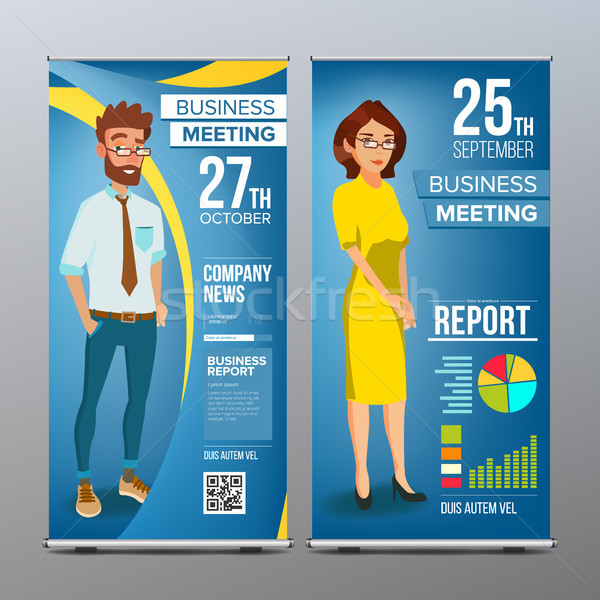 Roll Up Stand Vector. Vertical Flag Blank Design. Businessman And Business Woman. Market, Exhibition Stock photo © pikepicture