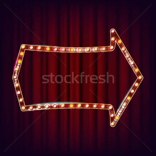 Retro Billboard Vector. Realistic Shine Lamp Frame. 3D Electric Glowing Element. Vintage Golden Illu Stock photo © pikepicture