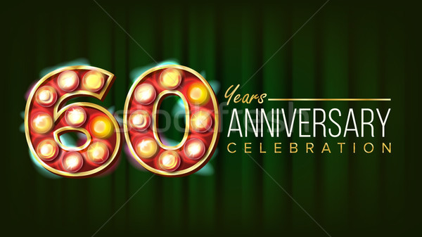 60 Years Anniversary Banner Vector. Sixty, Sixtieth Celebration. 3D Glowing Element Digits. For Flye Stock photo © pikepicture