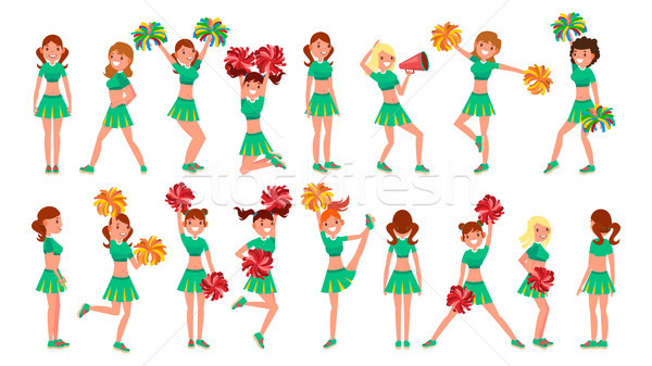 High-School Profession Cheerleading Teams Vector. In Action. Fans Girls Dancing With Pompoms. Jumpin Stock photo © pikepicture